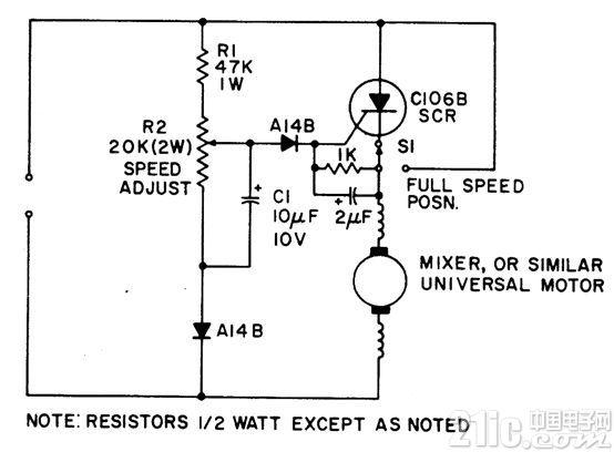 带有负载相关反馈的通用电机速度控制电路图