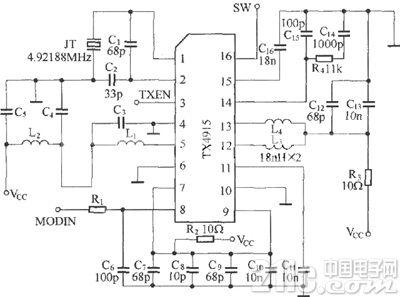 X4915组成的遥控发射电路图