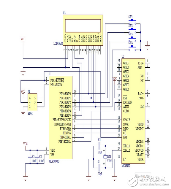 基于MC9S08QG8低端微控制器的蓝牙无线控制电路设计