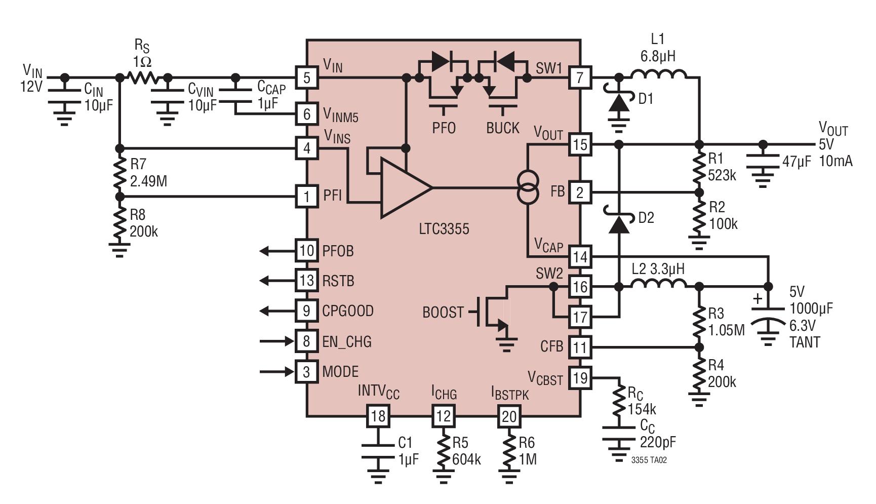LTC3355钽电容充电器和具可穿越功能的备用电源