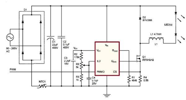 基于HV9910的降压型LED驱动电路