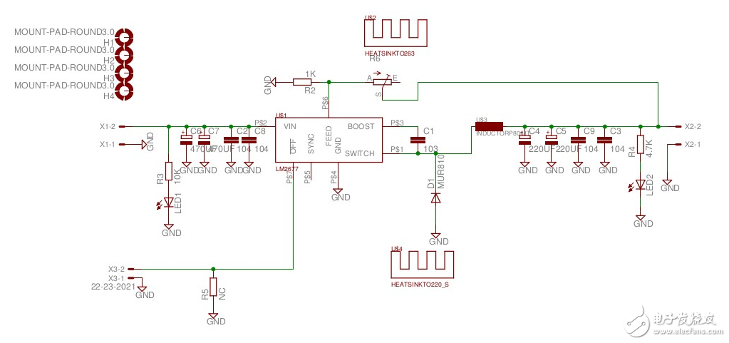 采用LM2677-ADJ制作的恒压源电子电路图
