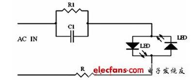 最简单的电容降压应用电路图