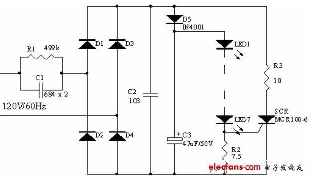 下图是基于可控硅的电容降压驱动电路图,如图示:可控硅 SCR 及 R3 组成保护电路当流过 LED 的电流大于设定值时SCR 导通一定的角度从而对电路电流进行分流使 LED 工作于恒流状态从而避免 LED 因瞬间高压而损坏。