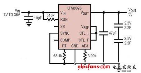 基于LTM8026的超级电容器充电器电路图