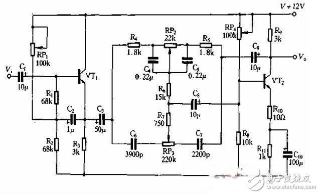 晶体管与RC网络组成的衰减反馈式音调电路设计