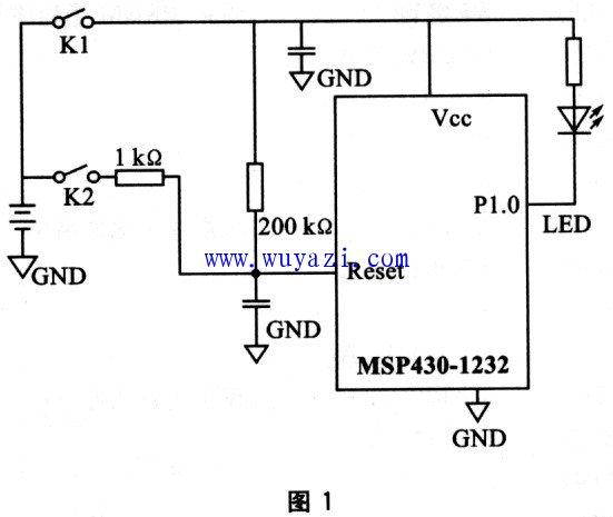 msp430单片机wdt实验电路图