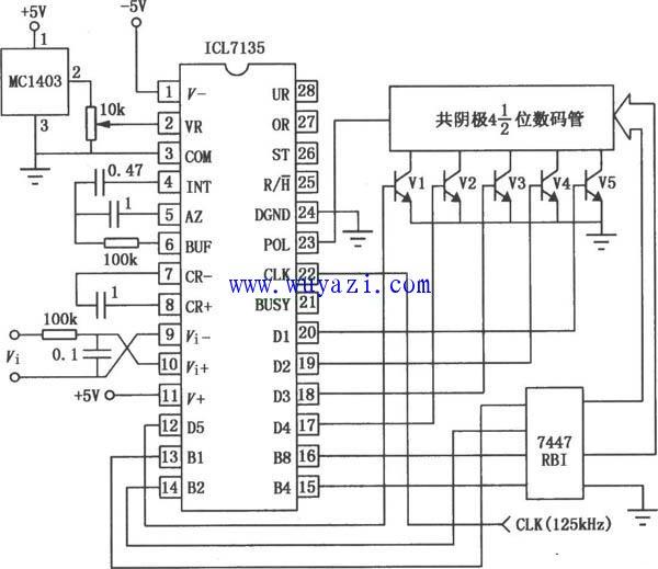ICL7135A/D转换器应用电路图