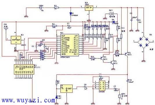 单片机2051设计的无线防盗报警器电路图