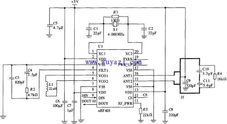 无线数据传输与GSM通信模块电路图
