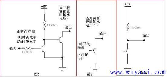 集电极开路输出的结构如图1所示,右边的那个三极管集电极什么都不接
