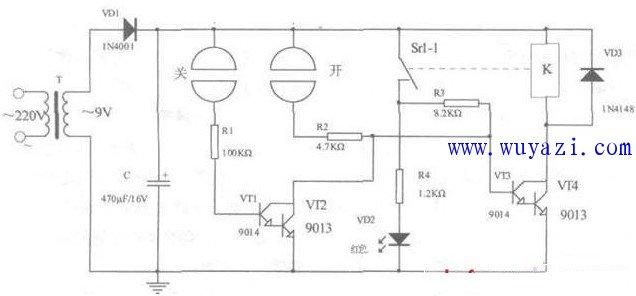 简单的模拟触控开关电路图