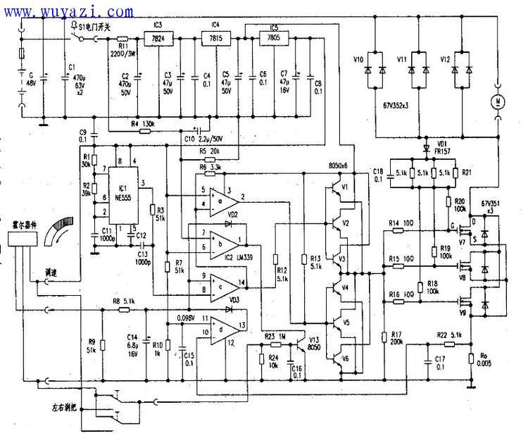 新旭48v-500w电动自行车电路图