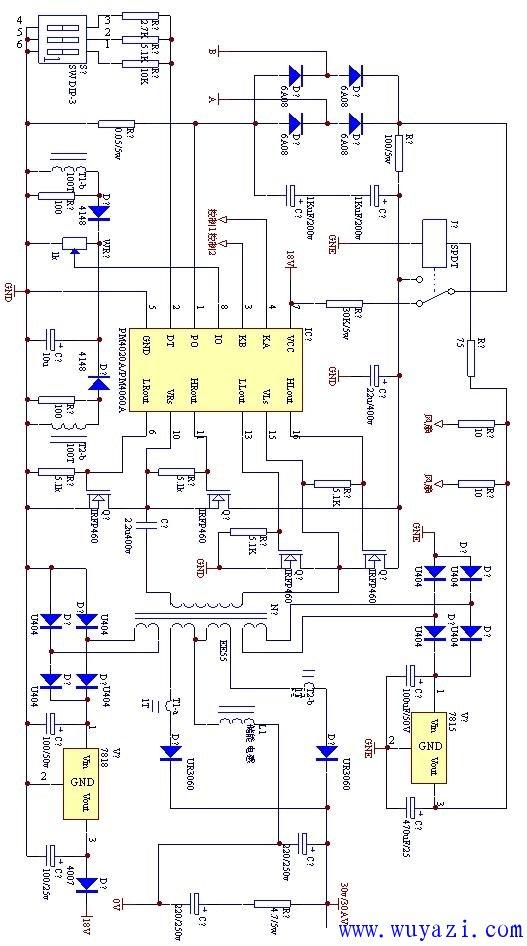 制作1200W的开关电源电路图