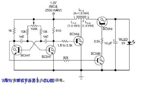 節能袖珍型白光LED手電筒電路