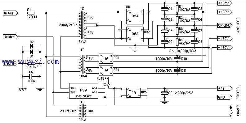 电源为1500瓦的音频功率放大器电路