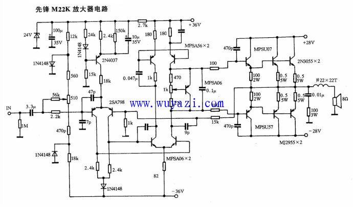 先锋功放M22K放大器电路图图片