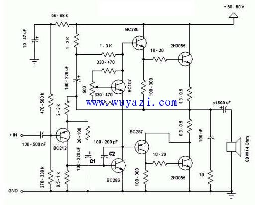 2N3055简洁优质大功率放大器,850功放原理图