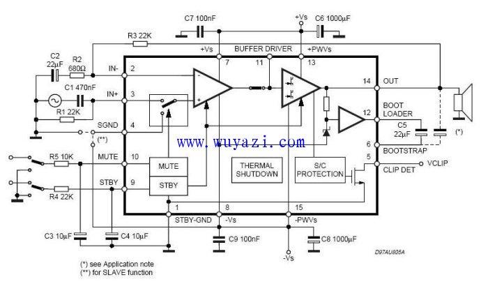 音色圆润细腻大功率功放TDA7293电路图