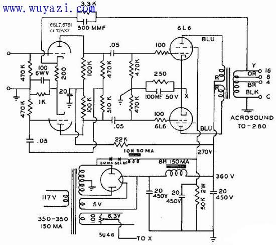 电子管6L6制作推挽功率放大器电路图图片