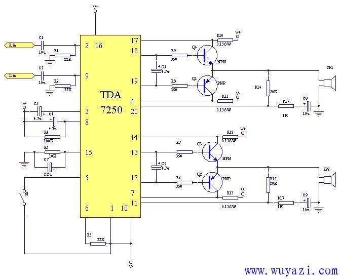 用TDA7250制作100W功放电路