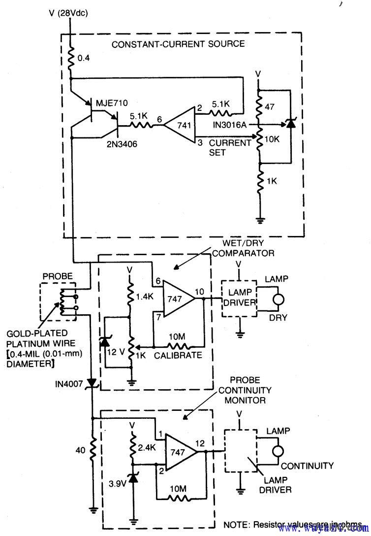 冷却液液面传感器电路图