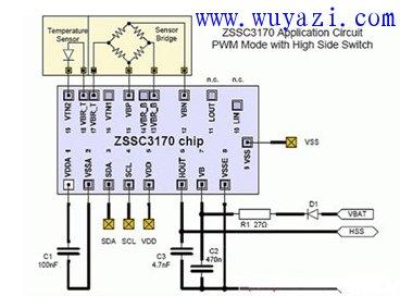 ZSSC3170汽车传感器信号调理电路图