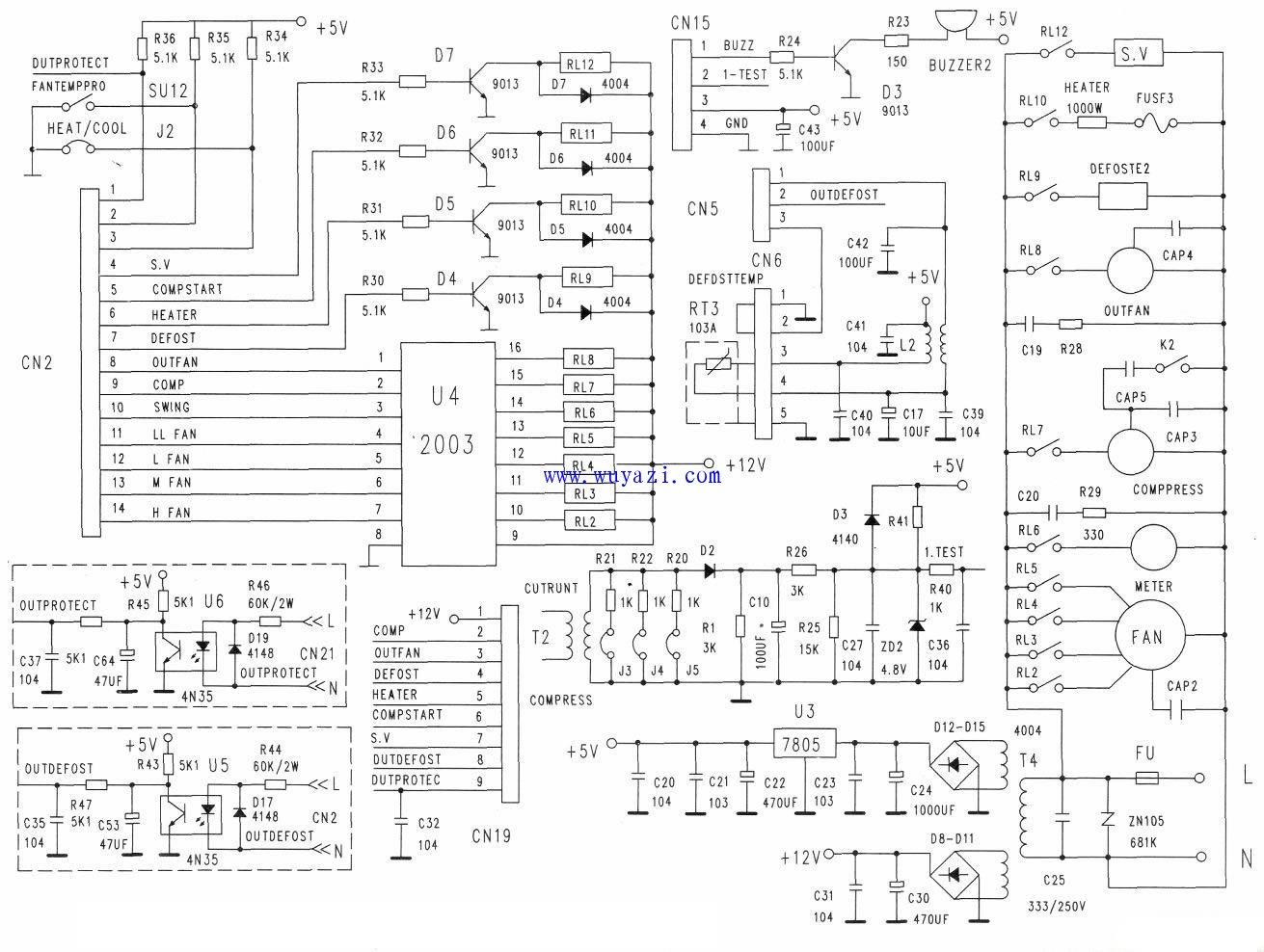 美的KFR 48LW Y空调内机控制电路图