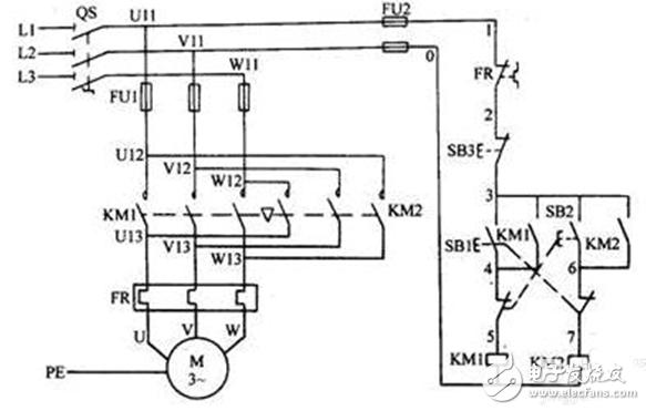 第六张 电动机的接触器联锁正反转控制电路原理图.-控制电机的几种图片
