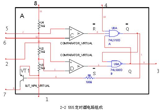 基于555定时器的多谐振荡器电路图