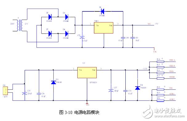 6是保护二级管,当输入端短路时,给输出电容器C39一个放电通路,防止C39两端电压作用于调整管的be结,造成调整管be结击穿而损坏。   控制与结果显示电路   键盘模组可直接用排线与61单片机I/O口相连。1*8KEY 的8 列分别定义为COL1~COL8,1 行定义为ROW1。如图3-11所示。 按键分别和SPCE061A的IOA0~IOA7相连,他们的作用分别为1个系统开关键,1个系统复位键,1个单个命令训练按键,1个所有语句循环训练按键,剩余4个初步设定为LCD功能控制按键。每个按键的按下与