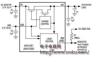 >max1555参考设计电路|电池充电器应用电路  max1555特性:从usb口或