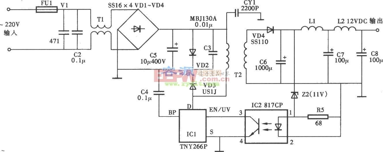 12v dc电源适配器电路图