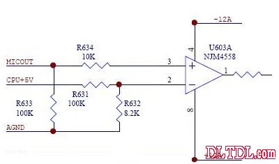 7脚 通道2输出 8脚 电源正 应用电路: 图4 4558 构成的话筒音频放大器