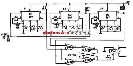 利用三种音调的通断控制开关电路图