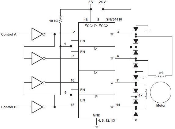 SN754410电机驱动器电路图