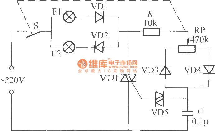 晶闸管双色调光器的电路(1)-控制电路图片