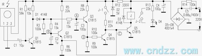 遥控综合电路图 ->简单实用的遥控开关电路-遥控电路  c1815 本遥控