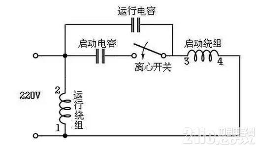 220V交流单相电机启动方式以及接线图