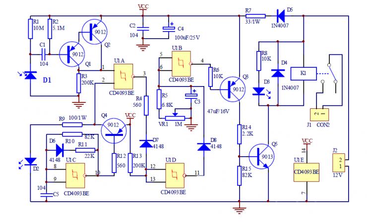 红外线接近开关电路图