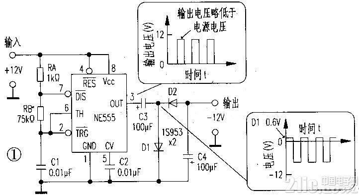 负电压发生器电路,NE555电荷泵
