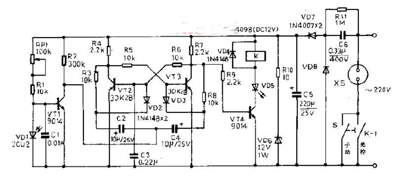 三极管组成的光控开关电路原理图_四款光控开关电路图