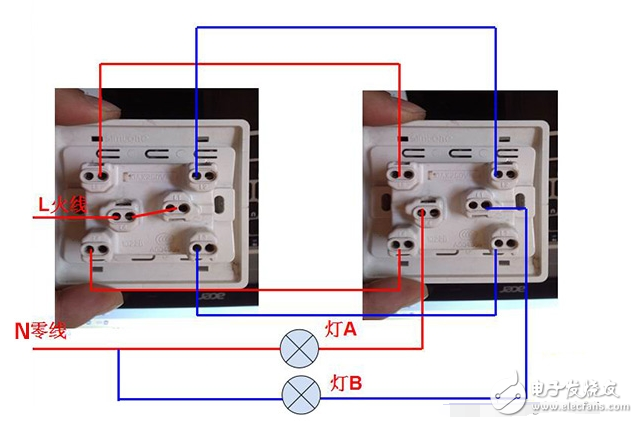 先将一个双控开关的中间接线柱连接到火线,再将另一个双控开关的中间接线柱连接到灯头(或螺口灯头的中心舌片),然后连接来回线,也就是用两条绿色导线任意连接上下两个接线柱;零线则直接连接到灯头的另一个触点(或螺口灯头的螺纹)这样就完成连接了。