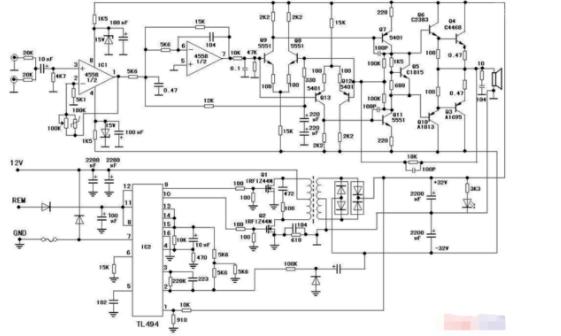 电路板与电路图分享       这个是现在主流车载大功率低音炮的设计图