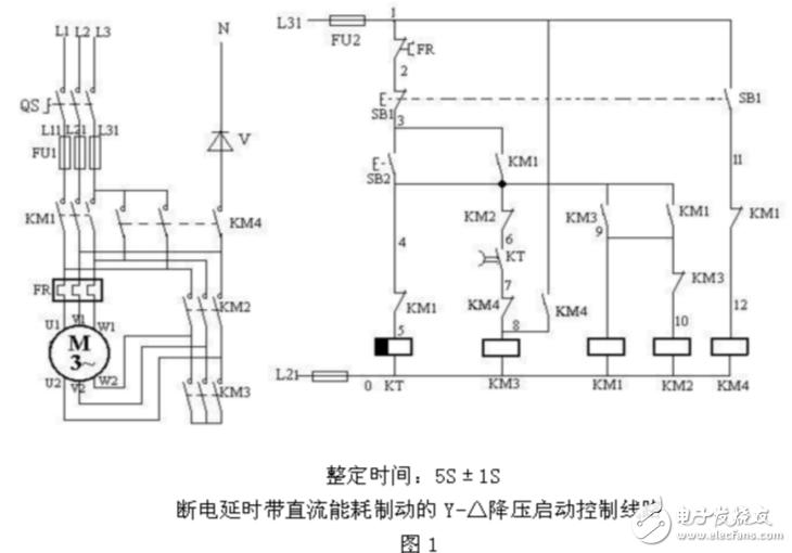 星三角能耗制动电路图大全(电动机/接触器/继电器自动