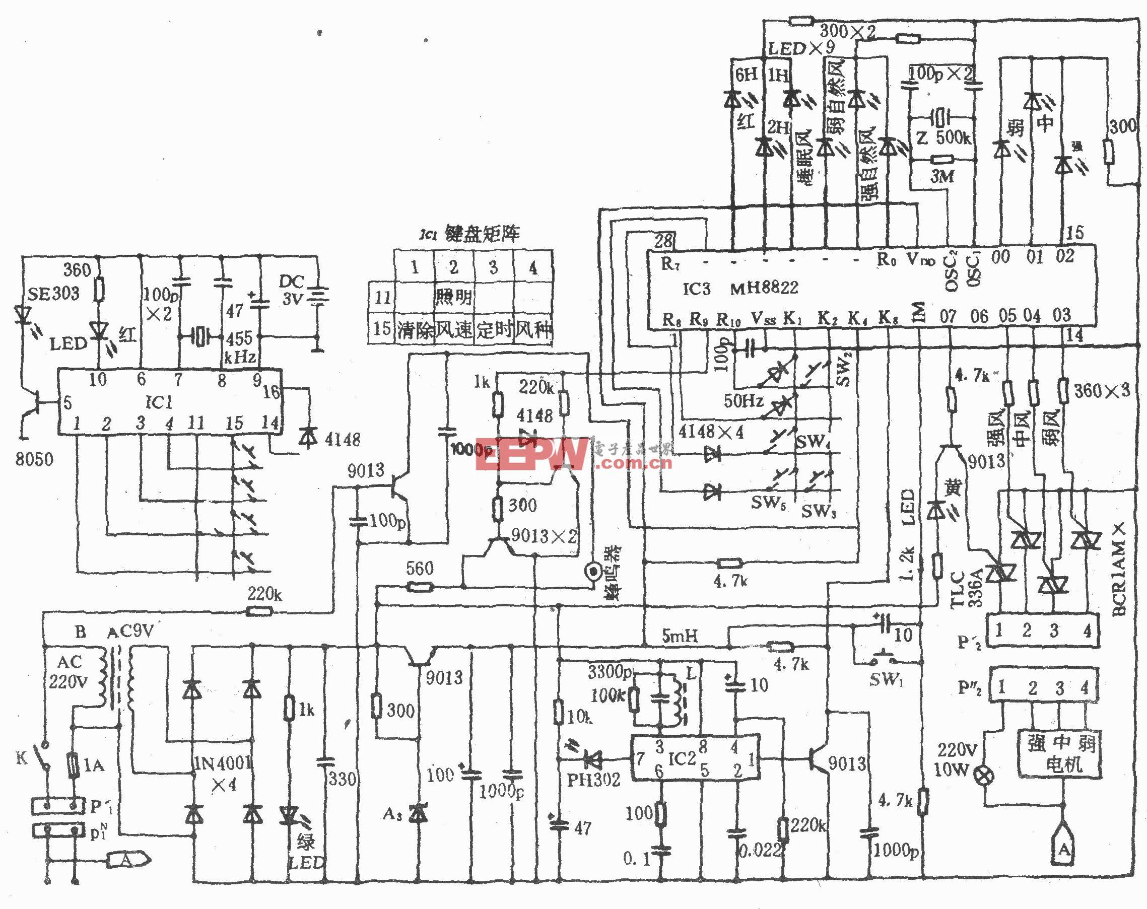 電風扇紅外遙控電路(長城FS26-40)