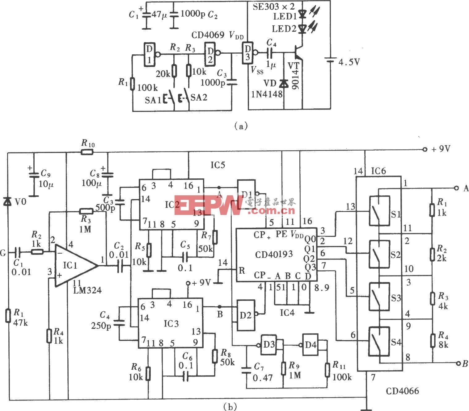 用CD4046组成的遥控接收通道选择器