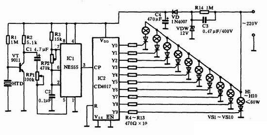 声控十路流水灯循环控制器图片