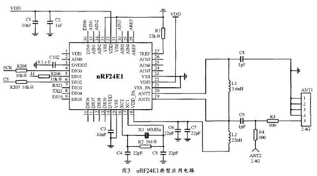 nRF24E1典型应用电路