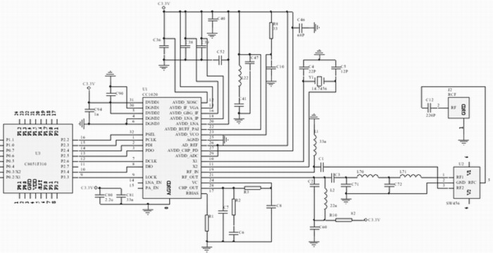 CC1020与微控制器的连接电路